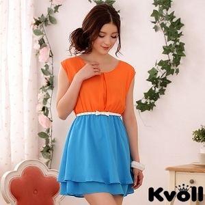 【KVOLL中大尺碼】橘藍色圓領撞色雪紡連衣裙 JK-0614