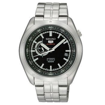 SEIKO 4R37 偏心時尚機械腕錶 黑/銀