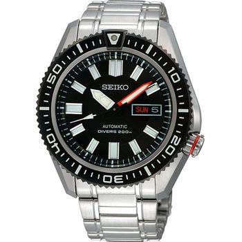 SEIKO 強悍戰士DIVER'S 200m 機械腕錶- 黑/銀