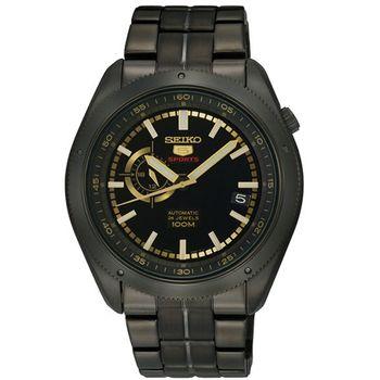 SEIKO 4R37 偏心時尚機械腕錶IP黑