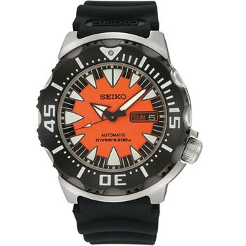 SEIKO Prospex 海龍潛水機械腕錶-橘/黑