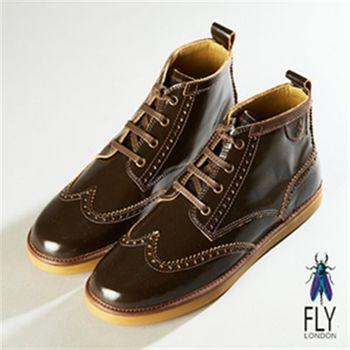 Fly London(男)★ 弗羅侖斯M字雕中筒抛光牛皮休閒鞋-咖
