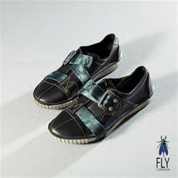 Fly London(男)★塗鴨頑童Z字釦拼貼休閒鞋-黑帶綠