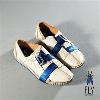 Fly London(男)★塗鴨頑童Z字釦拼貼休閒鞋-白帶藍
