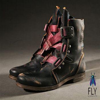Fly London(男) 粉紅帶磨痕中筒短靴-風痕黑