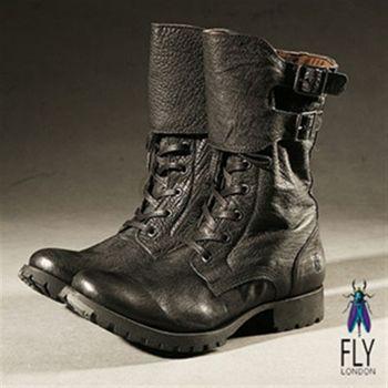 Fly London(男) 45%微笑反摺中筒軍靴-墨黑