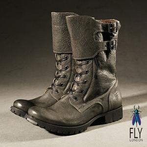 Fly London(男) 45%微笑反摺中筒軍靴-深綠