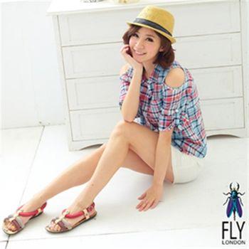 Fly London(女)★彩色橫條泡泡糖涼鞋 - 紅咖灰