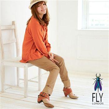 Fly London(女)★紅心牛仔娃娃木跟交叉扣踝靴-米加咖