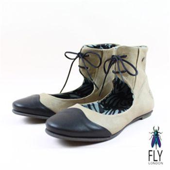 Fly London(女) ★ 幾米跳舞挖背繫踝娃娃鞋 - 米搭黑