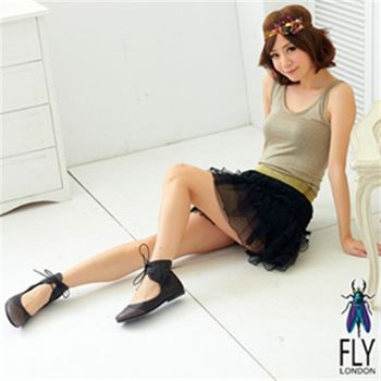 Fly London(女) ★ 幾米跳舞挖背繫踝娃娃鞋 - 黑搭灰