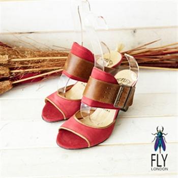 Fly London(女)★女牛仔風性感露趾後空高跟涼鞋-玫瑰紅