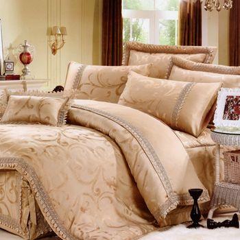 【KOSNEY】 夢幻花園 雙人天絲蕾絲緹花八件式兩用被床罩組