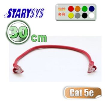 STARY高級線材Cat5e RJ45水晶型接頭網路線30公分-紅