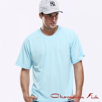 【Champion Fish】男士短袖圓領排汗T恤-水藍色