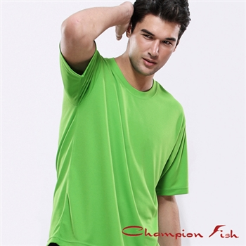 【Champion Fish】男士短袖圓領排汗T恤-翠綠色