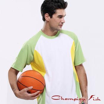 【Champion Fish】男士短袖雙彩排汗T恤-白/綠/黃