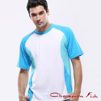 【Champion Fish】男士短袖雙彩排汗T恤-白/藍