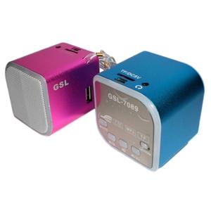 金靈獅可插卡式螢幕多功能小喇叭GSL-7089藍色