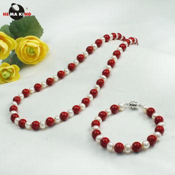 【HEMA KING】珊瑚色磁性健康珠項鍊-美麗一世