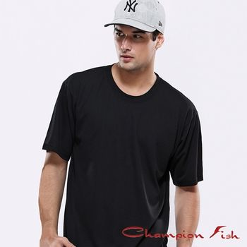 【Champion Fish】男士短袖圓領排汗T恤-黑色