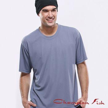 【Champion Fish】男士短袖圓領排汗T恤-灰色