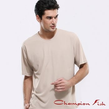 【Champion Fish】男士短袖圓領排汗T恤-卡其色