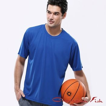 【Champion Fish】男士短袖圓領排汗T恤-寶藍色