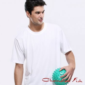 【Champion Fish】男士短袖圓領排汗T恤-白色