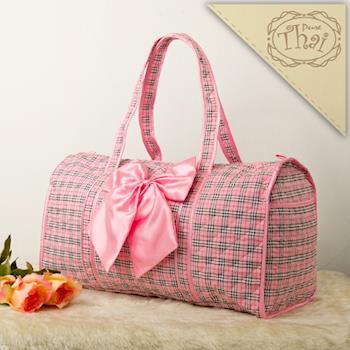 【PureThai】休閒款曼谷包圓桶旅行包/粉