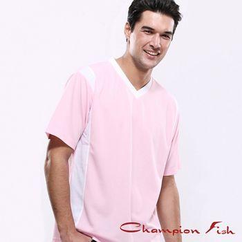 【Champion Fish】男士短袖雙彩排汗T恤-淺粉/白