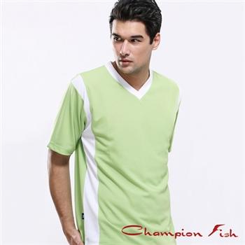 【Champion Fish】男士短袖雙彩排汗T恤-芥末綠/白