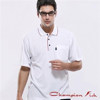 【Champion Fish】男士簡約排汗POLO衫-白色