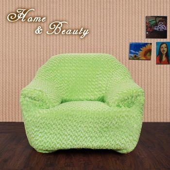 【HomeBeauty】玫瑰絨沙發罩1+2+3人座-茉莉綠茶
