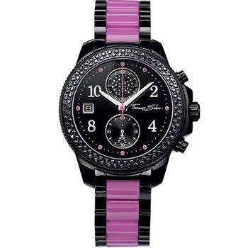 Thomas Sabo艾菲爾鐵塔計時玻麗腕錶(WA0128)-黑紫