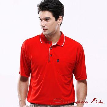 【Champion Fish】男士簡約排汗POLO衫-紅色