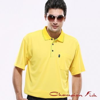 【Champion Fish】男士簡約排汗POLO衫-松黃色