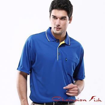 【Champion Fish】男士簡約排汗POLO衫-寶藍色