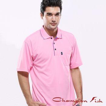 【Champion Fish】男士簡約排汗POLO衫-粉紅色