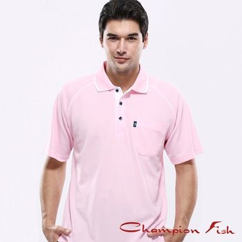 【Champion Fish】男士經典排汗POLO衫-淺粉色