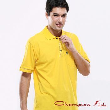 【Champion Fish】男士學院風短袖POLO衫-黃色