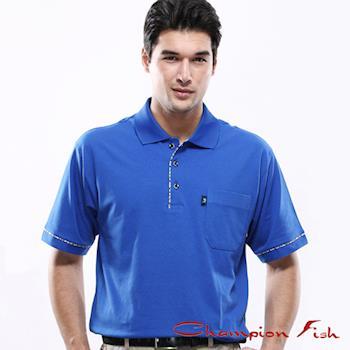 【Champion Fish】男士學院風短袖POLO衫-寶藍色
