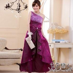 【白色戀人大尺碼】紫色斜肩亮片華麗長禮服JK-0313