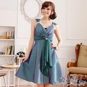 【白色戀人大尺碼】綠色V領鑽石飾扣晚宴禮服 JK-0617