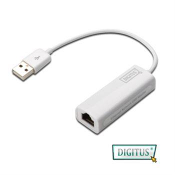 DIGITUS USB2.0高速網路卡-支援MAC系統(白色)