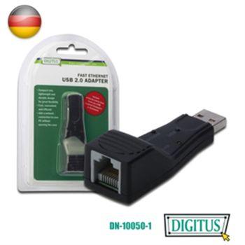DIGITUS USB2.0轉RJ-45高速網路卡-支援MAC系統
