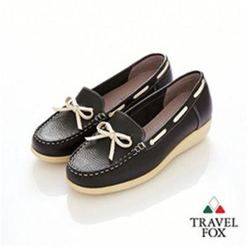 Travel Fox(女)★甜心永遠 單結超彈高底帆船鞋(揚帆黑)