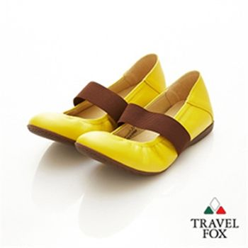 Travel Fox(女)★俏Y頭 鬆緊帶美型娃娃鞋(咖帶黃)