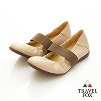 Travel Fox(女)★俏Y頭 鬆緊帶美型娃娃鞋(棕帶粉)