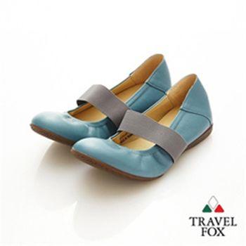 Travel Fox(女)★俏Y頭 鬆緊帶美型娃娃鞋(紫帶藍)